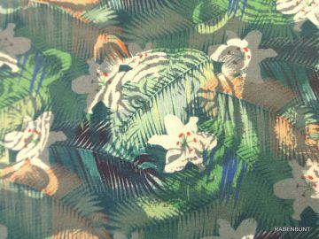 Sommersweat Jungle Tropic's, 150cm breit, 95% Baumwolle, 5% Elastan, Ökotext Sertifikat 5532CIT. Ein weicher, fester Stoff aus dem Hause Hilco, bestens für Kleidung geeignet. Bei 40°C fein waschen.
