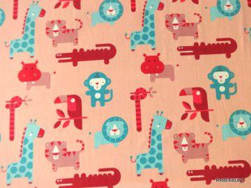 Baumwolljersey Safari rosa, 95% Baumwolle, 5% Elastan, 150cm breit. Für Bekleidung bestens geeignet. Verkaufseinheit 0,50cm, bei größeren Mengen wird der Stoff am Stück geliefert. Ökotext Feinwäsche 30°C