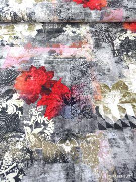 Jacquard floral, fest gewebt aus reiner Baumwolle. Wunderbar für Jacken, Röcke oder Taschen geeignet.