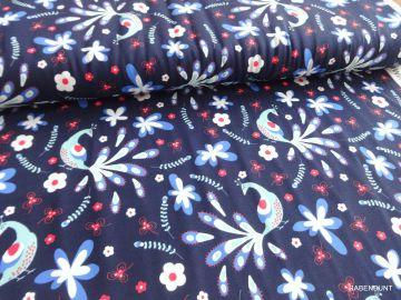 Jersey mit schönem Pfauen Motiv. Für Kleider, Tuniken, Stulpen, Schals geeignet.