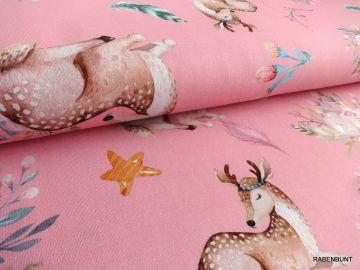 Baumwolljersey my deer , 95% Baumwolle, 5% Elastan. 150cm breit. Für Kleider, Röcke, Leggins, Loops bestens geeignet. Sommerliche, fröhliche Farben.