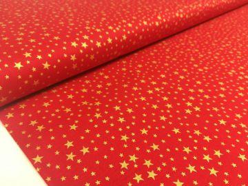 Baumwolle Weihnachten Sterne rot/gold